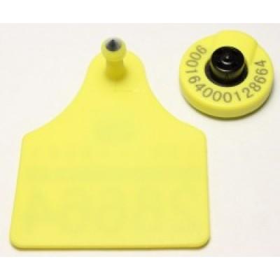 Ушная бирка с микрочипом стандарта ISO 11784/5 с визуальной площадкой  Модель CH E 01 V FDX-B